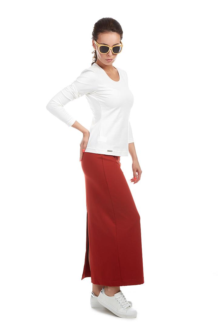 1bc91834100 Dlouhá sukně - ZOE   červená cihlová